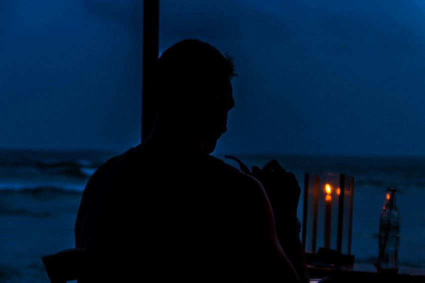 Silhouette One Person Sea Candle Flame Beach Night Horizon Over Water Adult Mirissabeach SriLanka