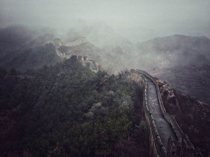 Great wall of china in foggy weather