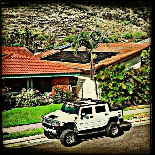 My G ride now, lookin down from a job in Hawai Kai Hawaii Hummer Lifted Electrician  H2 Work