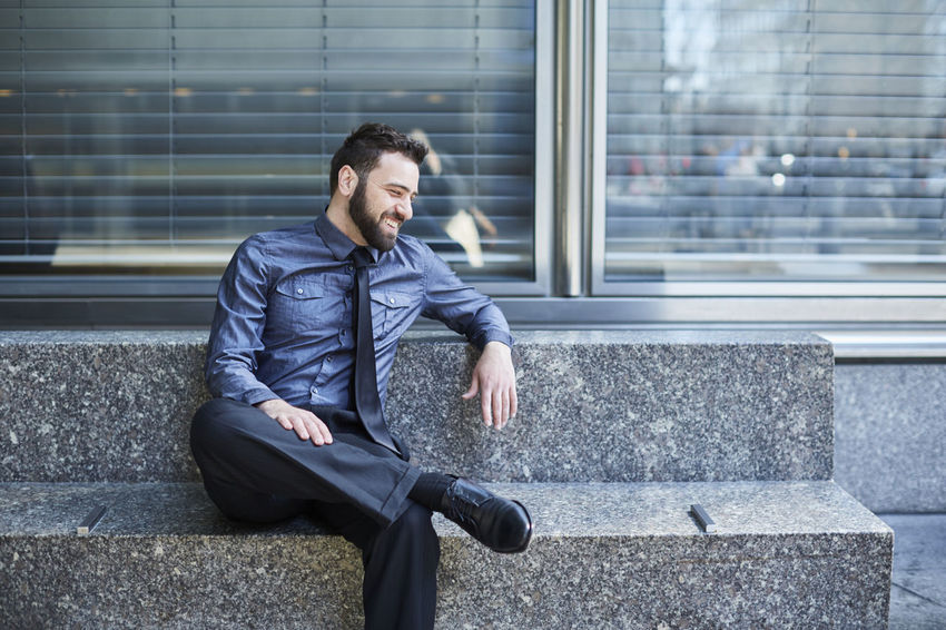 Beard Bench Blue Brazilian Business Business Business Man Businessman Confidence  Day Entrepreneur Finance Handsome Laughing Man Sitting Sitting Start Up Technology Urban Well-dressed Young Man