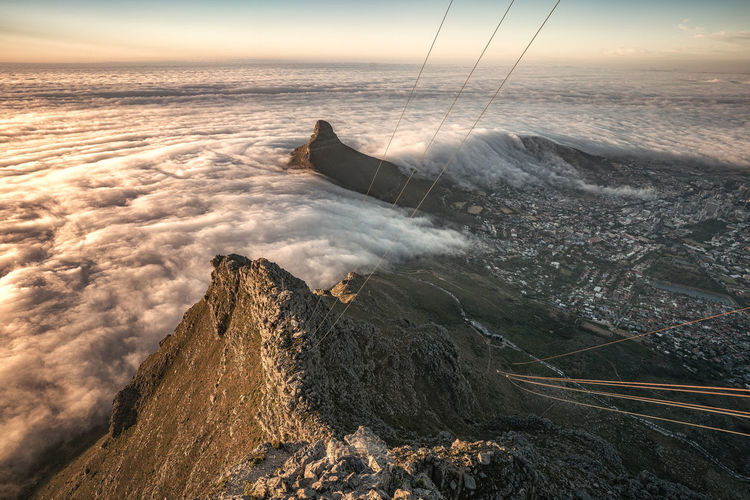 View from cable station on table mountain towards the bay were the fog hits the land