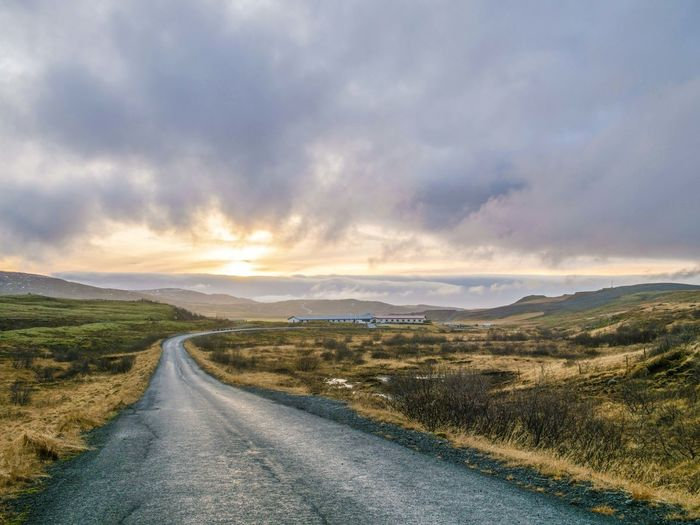 Road Cloud - Sky Environment Direction Landscape Sky Transportation The Way Forward Scenics - Nature Nature No People Grass Non-urban Scene Tranquility Land Travel Country Road Country Tranquil Scene Outdoors Iceland