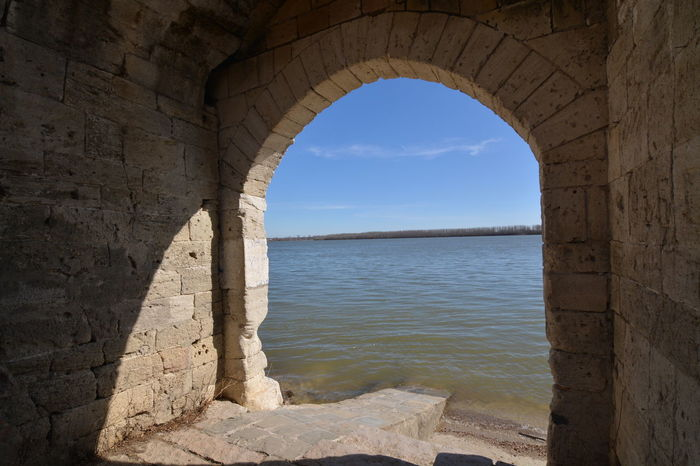 Framed View Danube River Arch Beach Architecture Water Horizon Over Water No People Outdoors Day