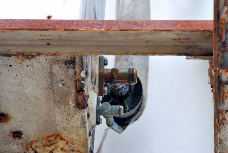 Close-up of rusty metal machine valve