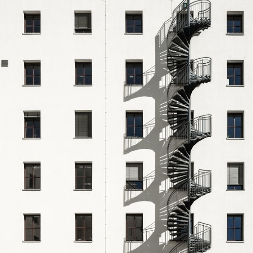 Facade Architecture Built Structure Window Building Exterior Building No People Day Outdoors Fujix_berlin Ralfpollack_fotografie Minimalism Minimalist Photography  Full Frame Residential District Fire Escape City Backgrounds Steps And Staircases Staircase Side By Side Apartment In A Row Sunlight Shadow Shadows & Lights