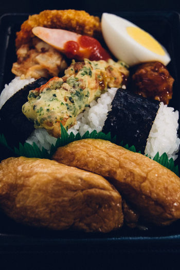 Bento Bento Box Boiled Eggs Choice Close-up Composition Food Food And Drink Freshness Fried Indoors  Japanese Food Meal Onigiri PLASTIC CONTAINER Plate Ready-to-eat Rice Rice Ball Still Life Table Variation Show Us Your Takeaway!