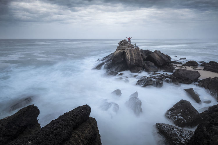 Awakening The Depths Moody Sky Landscape_Collection Longexposurephotography Portrait Photography Bluehour Portugal Landscape Wave Water Sea Beach Long Exposure Rock - Object Sky Horizon Over Water Landscape Rocky Coastline Seascape Coastline Ocean A New Beginning