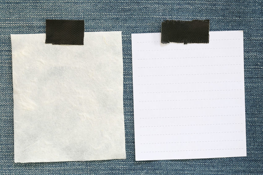 Note paper of empty and copy space on Denim background,You can input the message text in picture. Note Paper Backgrounds Blank Book Business Close-up Communication Copy Space Directly Above Indoors  Message No People Note Note Pad Notebook Page Paper Paper Art Paperwork Pattern Reminder Still Life Textile White White Color