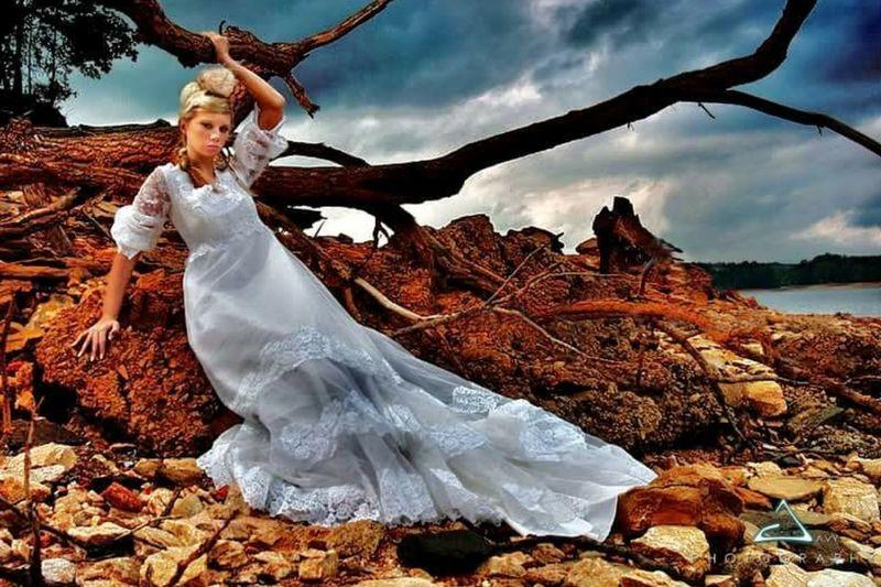 Beautiful Model displays mothers 1960s wedding dress. Wedding Photography Modelshoot  Lake Wedding Happiness Life Time Commitment EyeEmNewHere