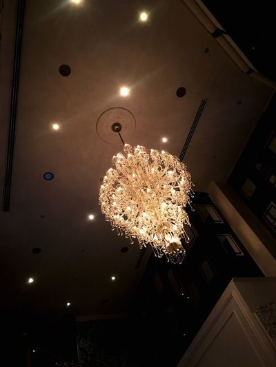Illuminated Ceiling Low Angle View Lighting Equipment Indoors  Decoration Hanging Electric Light Electricity  Night No People Light Bulb Architecture Christmas Decoration Modern Chandelier French