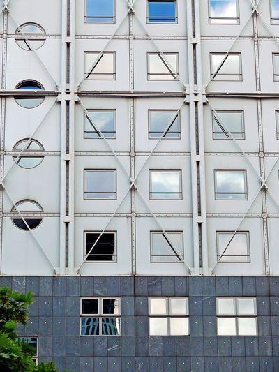 Full frame of a building facade