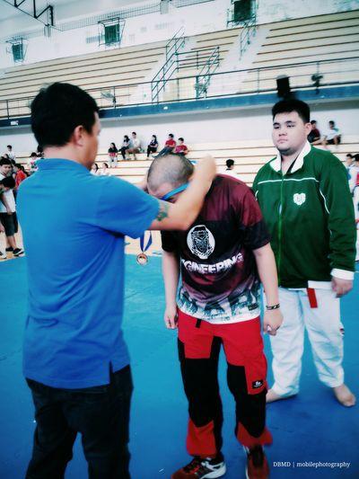 Taekwondo receiving my first bronze medal