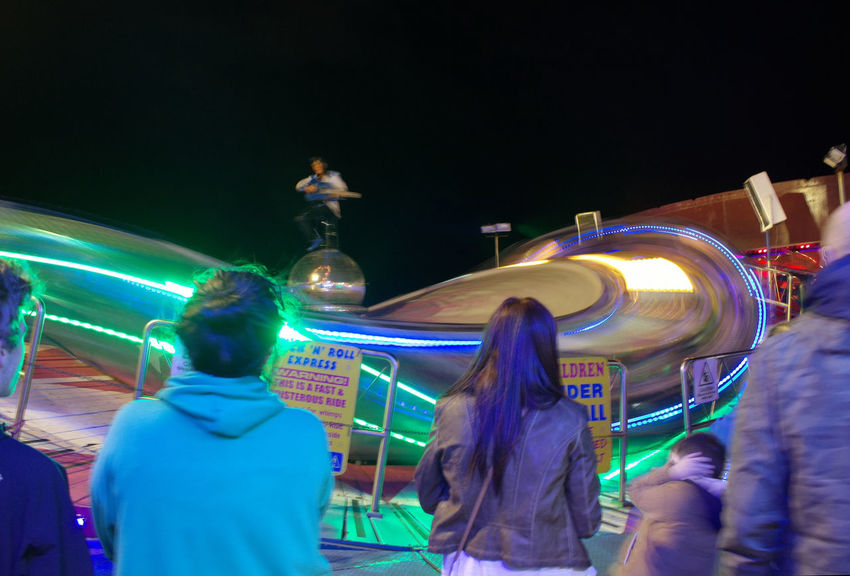 Night Illuminated Standing Casual Clothing Togetherness Person Enjoyment Vacations Adventure Outdoors Weekend Activities Sky Tourism Crowd Large Group Of People Colour Of Carnival Fairground Ride Bright Lights Of Blackpool Bright Lights Long Exposure