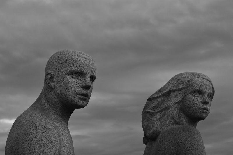 Boy And Girl Brutalism Far Away Gaze Greyness Oslo Sculpture Sensitivity Stern Vigeland Black And White Photography Blackandwhite Photography Brother & Sister 50mm F1.8