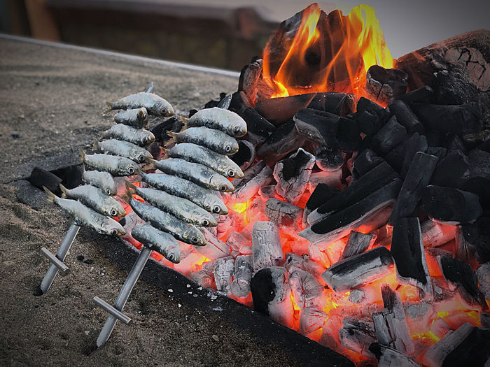 Bonfire on barbecue grill