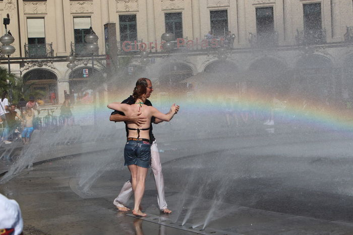Rainbow Dancing In The Rain Pair Dancing Dance Spring Water Well  Fontain