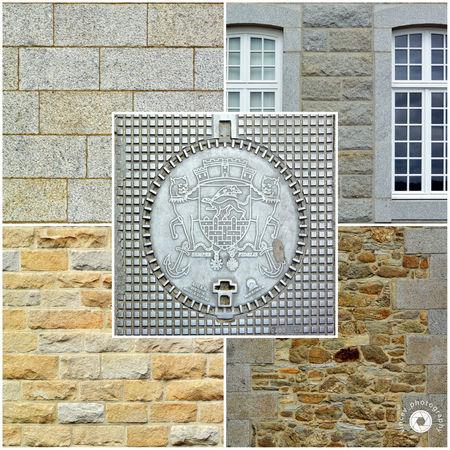 Petit patchwork de la ville de Saint-Malo Architecture Close-up Fenêtres Made Of Stone Murs Outdoors Plaque D'égoût Sewers Plate Walls Windows