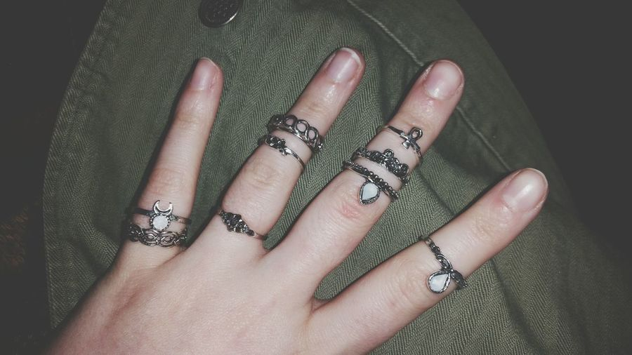 EyeEm Selects Nail Art Human Body Part One Woman Only Arts Culture And Entertainment One Person Close-up Adults Only People Human Hand Adult Pattern Only Women Fingernail Indoors  Black Background Rings Millenial Fashion Jewelry Stacked Rings Stacker Rings Lots Of Rings Bling