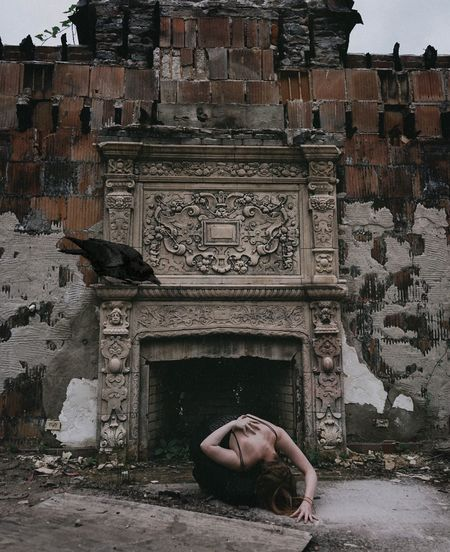 all my ghosts - I hid them Abandoned Places Abandoned Buildings Self Portrait Portrait SONY A7ii Sonyalpha Darkart Dark Photography Crow Bird Fireplace Abandoned House Abandoned & Derelict Architecture Building Exterior Built Structure