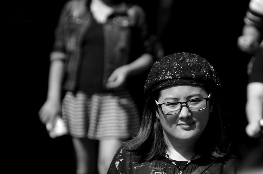 Black & White Black And White Black And White Photography Casual Clothing China Shanghai Focus On Foreground Hats Headshot Innocence Lifestyles Person Shanghai Streets Specticals Street Photography