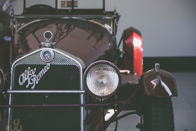 Front end Alfa Romeo Antique Car Close-up Communication Focus On Foreground Headlight Illuminated Land Vehicle Lighting Equipment Metal Mode Of Transportation Motor Vehicle No People Outdoors Retro Styled Selective Focus Transportation Travel Vintage Car