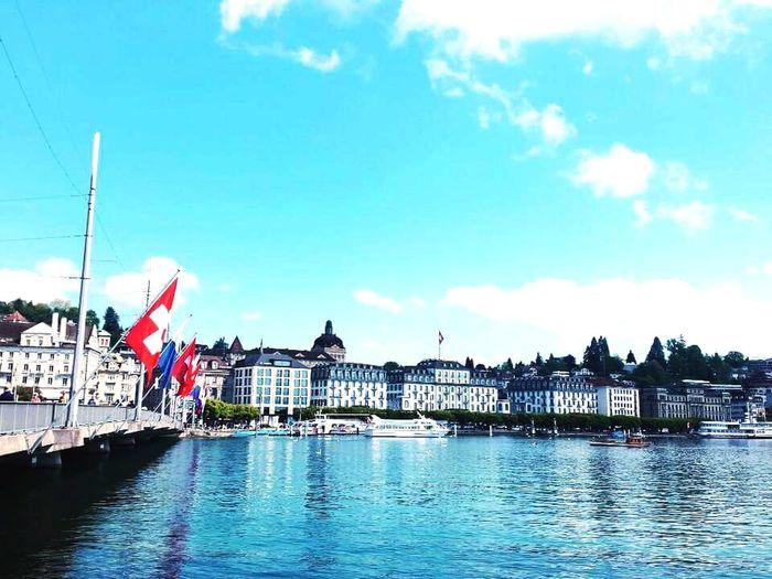 Switzerland Switzerland❤️ Flag Travel Destinations Water Blue Sky