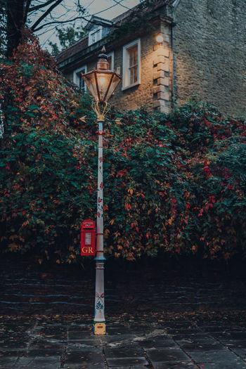 Street light by building