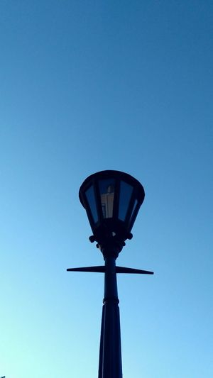 Low Angle View Sky Day No People Outdoors Silhouette Blue Clear Sky Lamppost Lamps And Lights.