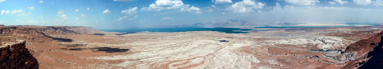 Panoramic view from the walls of the fortress of Masada to the Judean Desert and the Dead Sea in Israel Ancient Antique Archaeology Architecture Castle Landmarks Massada National Park Ruins Travel Wall Cultures Day Dead Sea  Famous Place Fort Heritage History Israel Judean Desert Mountains Nature Old Stone Tourism