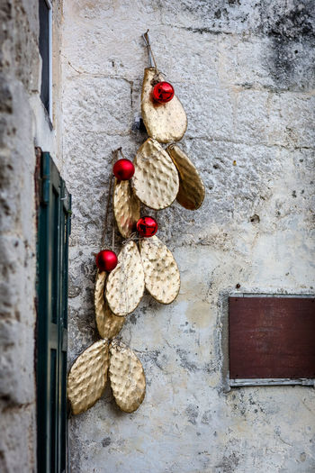 Christmas Matera Matera Italy Matera2019 Matera - Capitale Della Cultura Matera View Wall - Building Feature Hanging No People Built Structure Decoration Day Creativity Old Cactus Christmas Decoration Gold Gold Colored