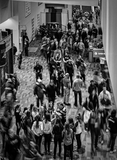 The hustle and bustle at the Arnold Classic Expo entrance. Nikon D700 Blackandwhite Street Photography