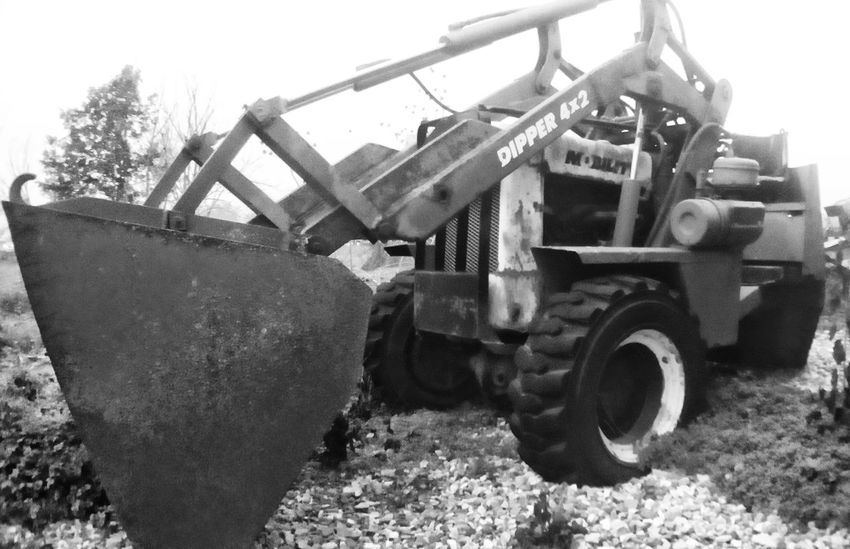 Construction Vehicle Tractor Black & White Rural Scenes