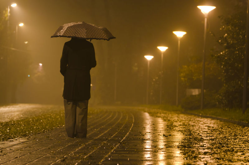 Rear View Of Woman Standing On Street During Rainy Season At Night