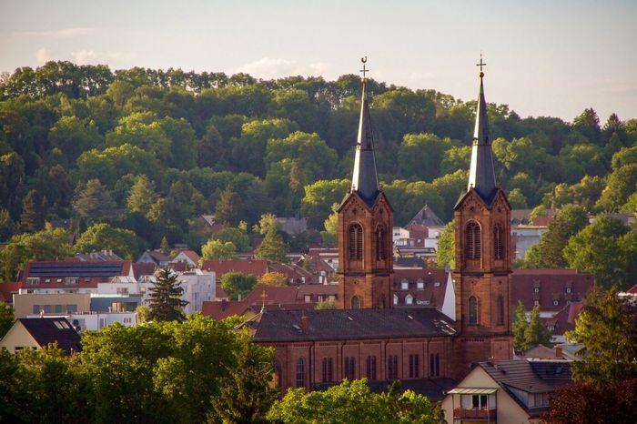 St Peter and Paul Church in Lahr in the evening Tree Architecture Built Structure Plant Building Exterior Building Place Of Worship Religion City