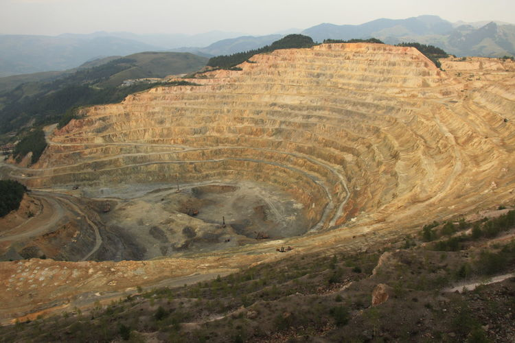 High angle view of gold mine