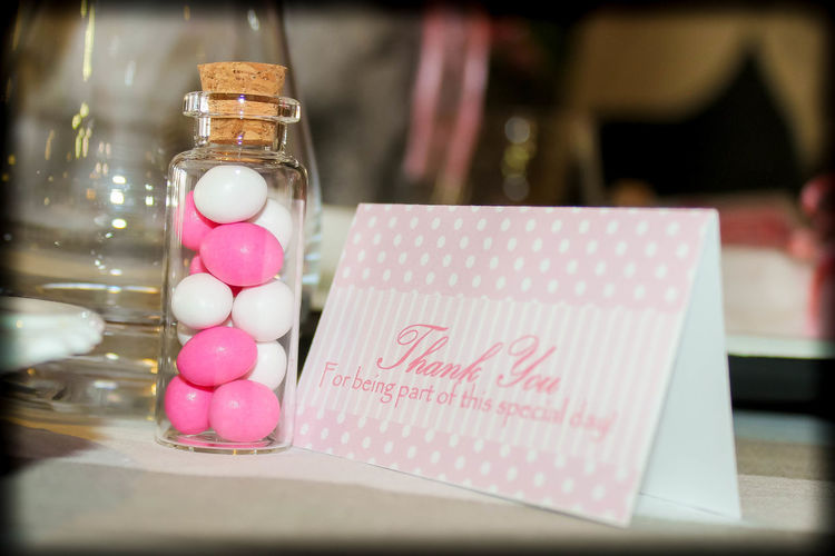 Candy Celebration Close-up Communication Day Food Freshness Gift Indoors  Invatation No People Pink Color Selective Focus Sweet Food Table Text