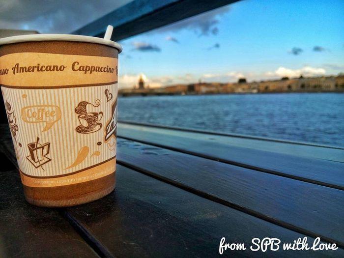 Vasilevsky Island Neva River Coffee Water Focus On Foreground No People Sky