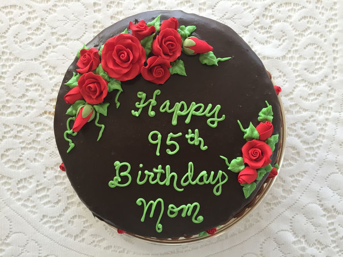 Happy Birthday Birthday Cake Cake Celebration Celebration Event Close-up Communication Day Flower Flower Head Food Food And Drink Freshness Happy 95th Birthday Indoors  Love Message No People Petal Red Rose - Flower Sweet Food Table Text Western Script