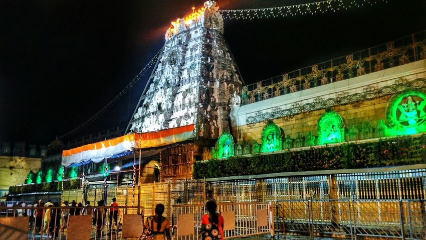 Night Illuminated Low Angle View Large Group Of People Arts Culture And Entertainment Architecture Built Structure Travel Destinations Crowd Building Exterior Outdoors People Sky Tirupati Balaji The Great Outdoors - 2017 EyeEm Awards The Architect - 2017 EyeEm Awards