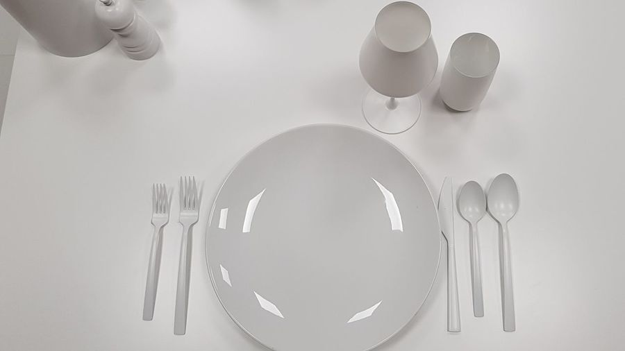 white wash White White Color Table Table Setting Silverware