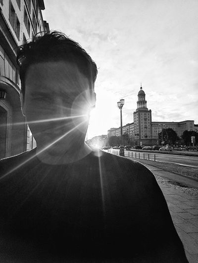 Architecture Built Structure Outdoors One Person Sky Cityscape Berlin, Germany  Berlinlove Cityscape Downtown District Sun Light Berlin Life Black And White Collection  Black And White Portrait Snapseed Frankfurter Tor Frankfurter Allee Stalinallee Stalinbauten