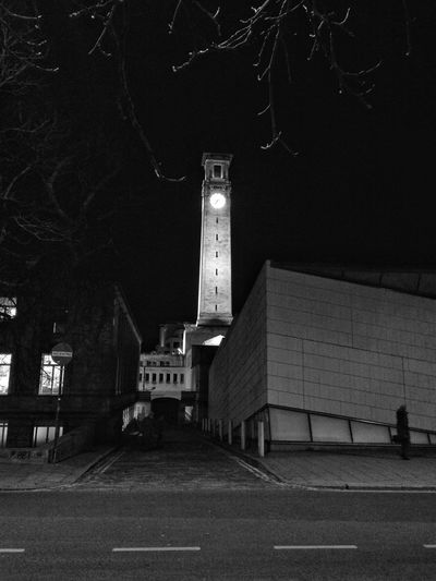 The city at night...the way that I like Night Architecture Illuminated Building Exterior Built Structure Clock Clock Tower No People Monochromatic Low Light Light Black E White Photography