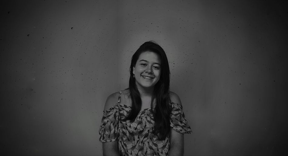 she in black & white Portrait Smiling Happiness Cheerful Fun Enjoyment Protruding Long Hair Front View Carefree The Fashion Photographer - 2018 EyeEm Awards