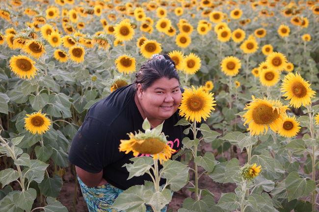 Asian  Casual Clothing Flower Flower Head Freshness Obese Obese Woman Person Portrait Smiling Thailand Yellow