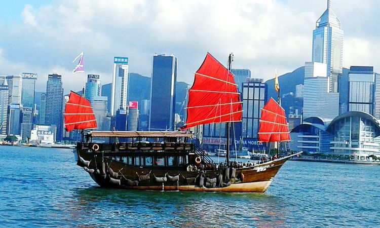 Outdoors Nautical Vessel Ship Sea Water Sailing Travel City Urban Skyline Cloud - Sky No People Day Shipping  Cityscape Sky Hong Kong City Hong Kong Architecture