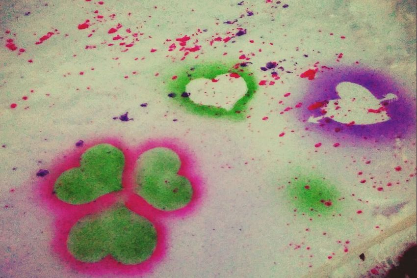 So much fun!!💗 Check This Out Pretty Food Coloring Playing Outside Art Snow Front Yard No People Green Color Day Close-up