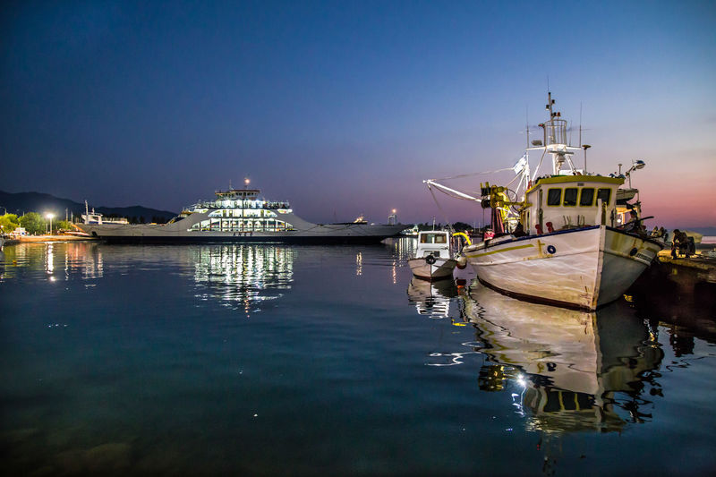 Clear Sky Illuminated Nature Nautical Vessel Night No People Outdoors Reflection Sea Sky Transportation Travel Destinations Water Waterfront