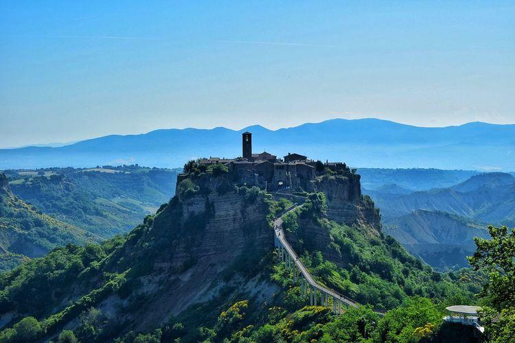 High angle view of civita di bagnoregio