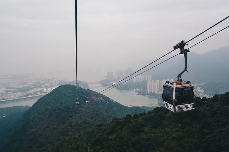 Hong Kong Cable Cable Car Fog Mode Of Transportation Mountain Mountain Range Nature Outdoors Overhead Cable Car Scenics - Nature Sky Steel Cable #urbanana: The Urban Playground It's About The Journey