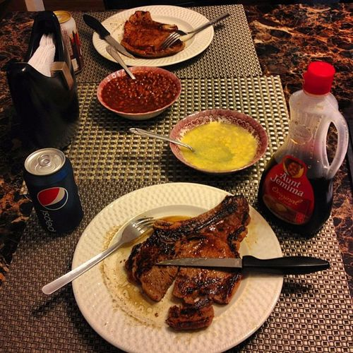 Dinnerfortwo BestieDinner Wecute MyBestieBetterThanYours SteakLife WeHungry ICookedSteak HopefullyWeDontDie NomNomNom LoveMyBestie Yes I have Syrup with my Steak .. NotReallyThough ThoughtItWasFunny OkBye HellaHashtags ByeForReal ImHyper